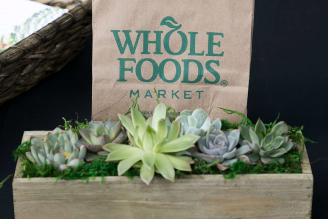 Whole Foods bag with succelents